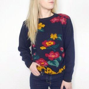 Vintage Floral Chunky Wool Blend Grandma Sweater